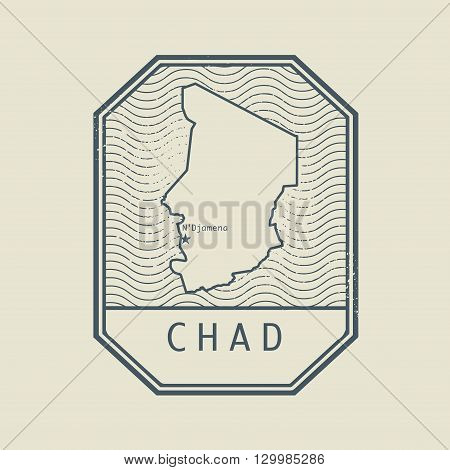 Stamp with the name and map of Chad, vector illustration