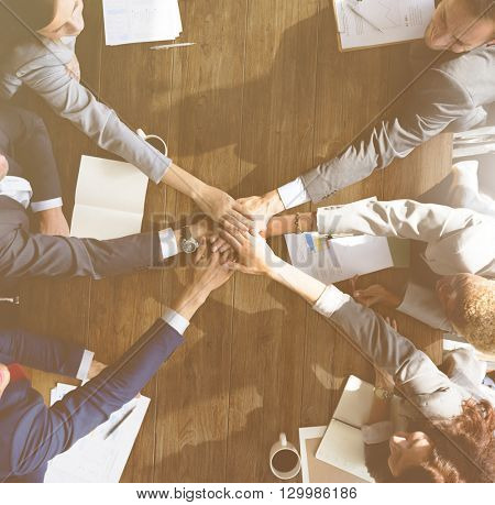 Business Team Support Join Hands Support Concept