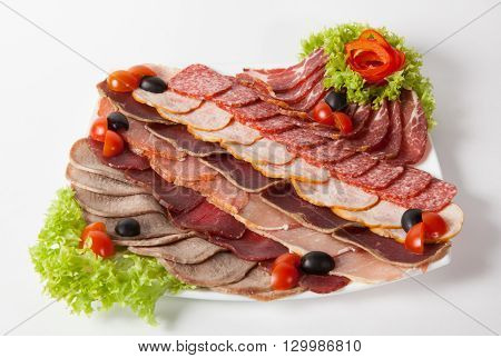 Different sorts of meat salami parma and ham