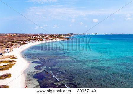 Aerial from Boca Catalina on Aruba island in the Caribbean Sea