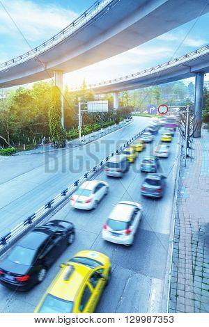 traffic under the overpass,chongqing china.