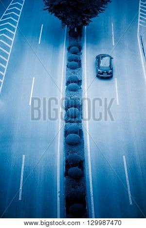 aerial view of road thaffic,chongqing china,blue tomed image.