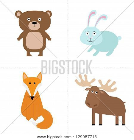 Forest animal set. Bear hare fox moose. Kids education cards. White background. Isolated Flat design Vector illustration