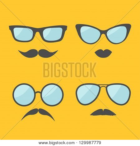 Glasses and mustache lips moustaches face icon set. Isolated Yellow background. Flat design Vector illustration
