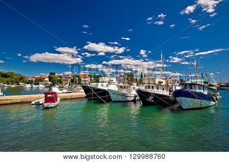 Fishing boats fleet in Zadar harbor Dalmatia Croatia