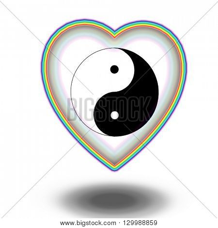 yin yang sign in rainbow heart 3D Render