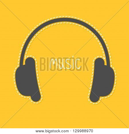 Headphones with dash line and white word Music. Icon in Flat design style Yellow background. Vector illustration