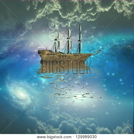 Sailing ship sails through the stars 3D Render