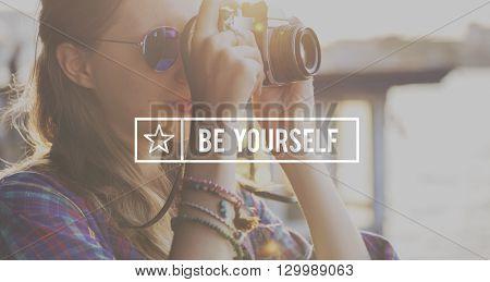 Be Yourself Self Esteem Confidence Optimistic Concept