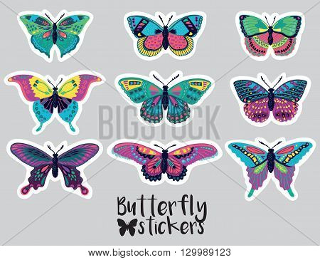 Collection of stickers with colorful butterflies. Collection with butterfly silhouette isolated on white background. Vector illustration