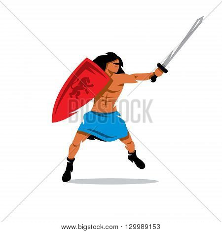 Barbarian with a shield and sword in a jump attack. Isolated on a white background