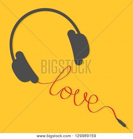 Black headphones with red cord in shape of word love. Music card. Flat design icon. Yellow background. Vector illustration
