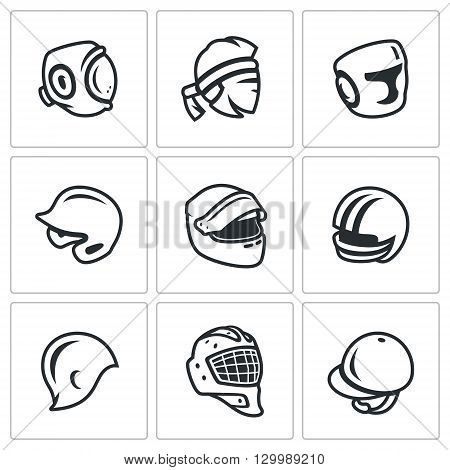 Hats in various sports isolated on white background