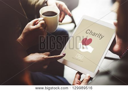 Charity Volunteer Donate Hand Symbol Concept