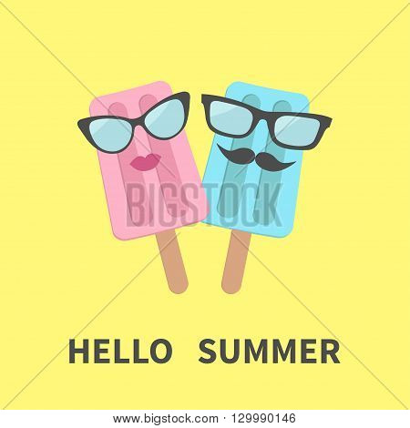 Ice cream couple with lips mustaches and eyeglasses. Hello summer greeting card. Flat design. Yellow background Vector illustration.