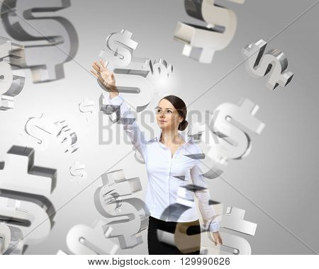 Woman push dollar icon
