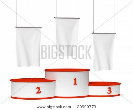 Round Winners Podium With Blank White Flags Diagonal View