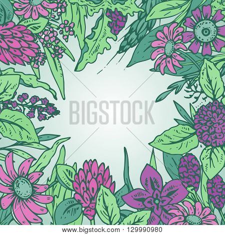 Vector frame with pastel wildflowers and herbs for invitation card for greeting card or invitation on light background.