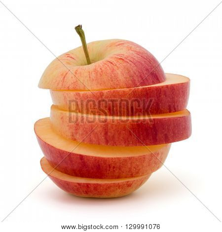 Red sliced apple isolated on white background cutout