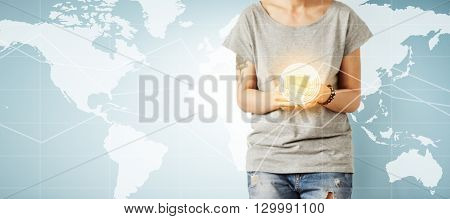 Visual Effects. Technology And Communication Concept. Young Female Freelancer In Blank T-shirt Check