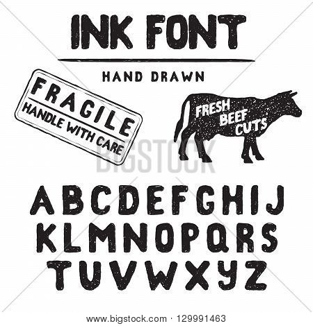 Hand Made Ink stamp font. Handwritten alphabet. Vintage retro textured hand drawn typeface with grunge effect good for custom logo or emblrm. Vector illustration. isolated on white background.