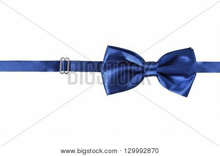A blue bow Tie isolated on white background