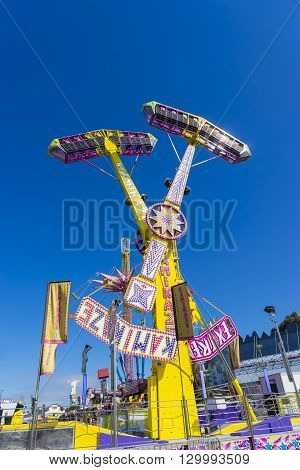 Melbourne, Australia - September 25, 2015: Pendulum amusement ride in the carnival precinct of the 2015 Royal Melbourne Show.