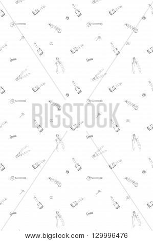 Doodle style mechanic, carpenter or handyman tool background - seamless pattern ready to be tiled in vector format.