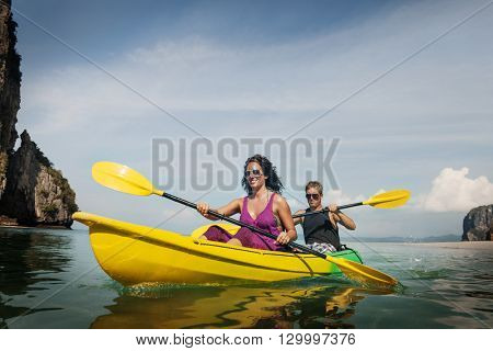 Kayaking Fun Activity Holiday Recreation Concept