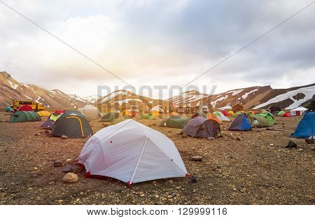 Tents stands in camping Landmannalaugar, Iceland travel