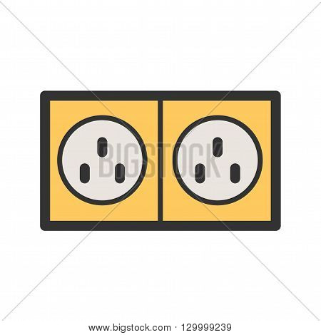 Plug, electric, socket icon vector image.Can also be used for tools. Suitable for mobile apps, web apps and print media.