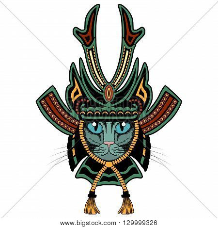 Samurai cat. Colored version isolated on white.