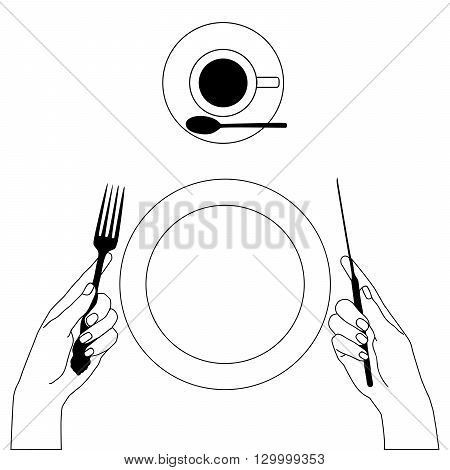 Knife and fork in hands isolated on white. Morning breakfast coffe elements for your design.