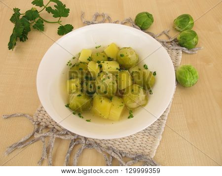Homemade soup with brussels sprouts and potatoes
