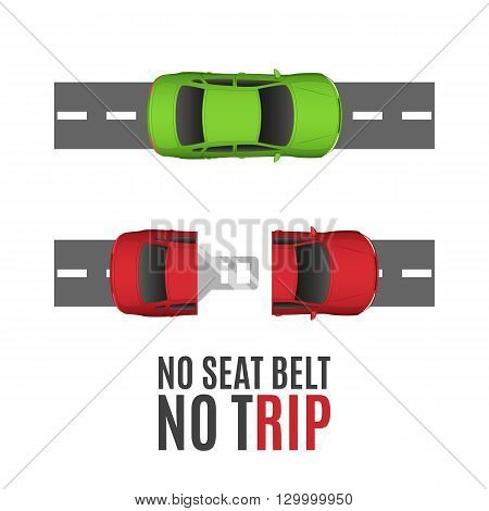 Safety conceptual background with two cars, road and seat belt. Vector illustration.