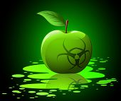 picture of hazard symbol  - Green toxic apple with biohazard sing on black background - JPG