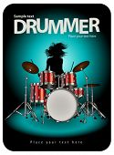 picture of drum-set  - Girl play the drums - JPG