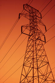 foto of power lines  - power lines in the sunset  - JPG