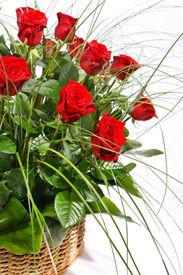 stock photo of gift basket  - Red Roses in Basket - JPG