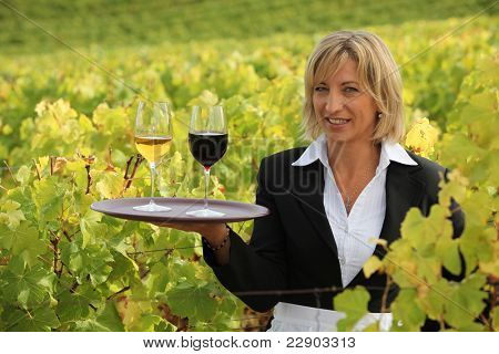 Blond waitress in field holding trey of wine