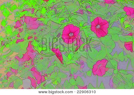 Pink Petunias Bright