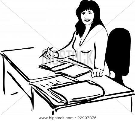 sketch of a woman at the table with business papers