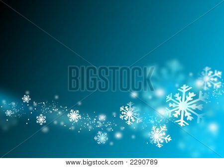 Flying Snowflake In Abstract Blue Background