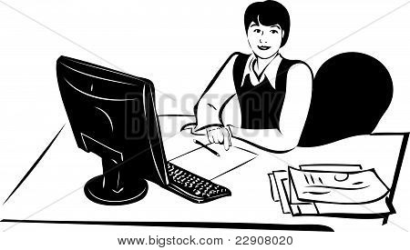 sketch of a girl in a vest at the table in front of the   monitor