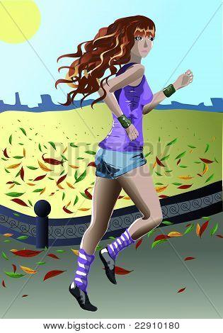 The vigorous girl on jog in city park