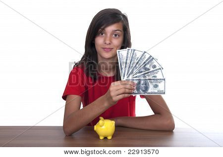 Brunette Teen Girl With Piggy Bank And Bills Of 100 Euros