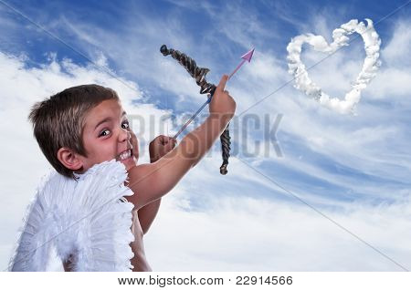Adorable Boy Dressed As Cupid