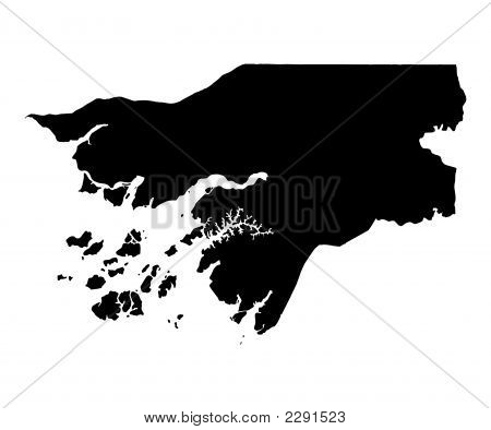 Detailed Isolated Map Of Guinea-Bissau