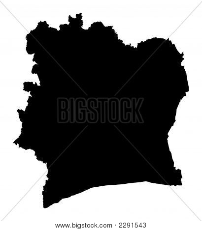 Detailed Isolated Map Of Cote D'Ivoire