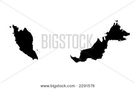 Detailed Isolated Map Of Malaysia